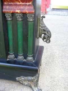 Antique Sessions Black Mantel Column Pillars Shelf Clock