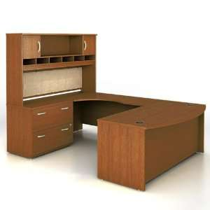 Warm Oak Bow Front UDesk with Left Bridge Warm Oak Office Products