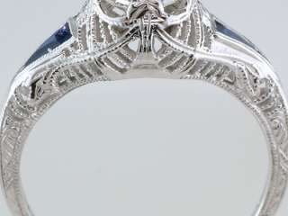 Vintage Antique Art Deco 1ct Diamond Sapphire 18K White Gold