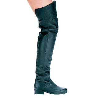 SS4U Mens Black Leather Over The Knee Boots 1 Heel