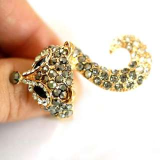 Big Visual Fox 18K GP Gold Plated Gemstone Zirconia CZ Adjustable Ring