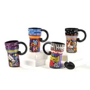 Romero Britto Assorted Dog & Cat Travel Mugs (4) Patio