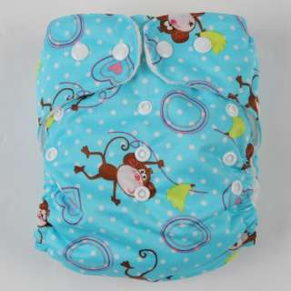 BABY CLOTH DIAPER NAPPY Monkey Print + Insert 703 Blue