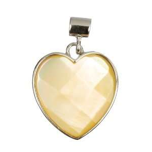Yellow Mother of Pearl 18mm Heart Pendant in Sterling
