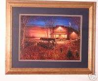 Jim Hansel dog truck store canoe framed picture