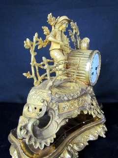 Figural Boy Fishing Antique Gilt Bronze French Clock