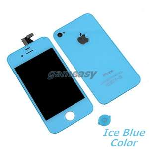 Ice Blue Front back Panel LCD and Digitizer for iPhone4 4G