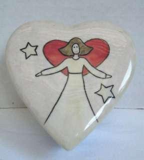 Ceramic Angel Heart Small TRINKET JEWELRY TREASURE BOX