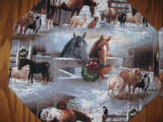 Handmade Set of 4 Octagon Christmas Horse Western Cowboy Placemats
