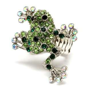Green Frog Reptile with Crystal Stone Cocktail Ring