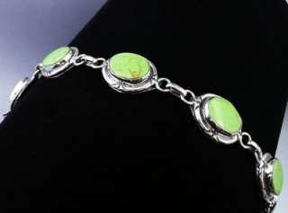 Gaspeite 6 Stone Link Bracelet   Mexican Silver