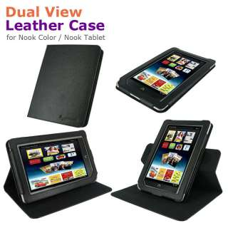 Dual View Leather Case Cover for Nook Color Nook Tablet Black