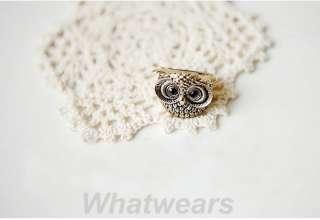 Black Eyes Cute Vintage Style Rhinestone Owl Head Ring 2Color Z07