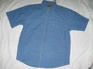 Mens Harriton S/S Denim BLUE Uniform/Casual SHIRT Large