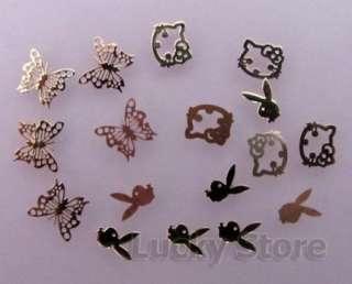 Mixed Design Golden Nail Art Decoration Acrylic Tips Metal Sticker