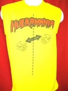 Hulkamania Yellow Funny Hulk Hogan Muscle T shirt New