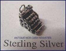 Sterling Silver ORNATE ANTIQUE CASH REGISTER CHARM 3 D