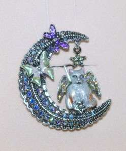 Kirks Folly Luna Kitty Cat Angel Crescent Moon Pin Brooch Silvertone