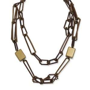 Gold Tone Bamboo, White Wood Aster & Acrylic Bead Necklace