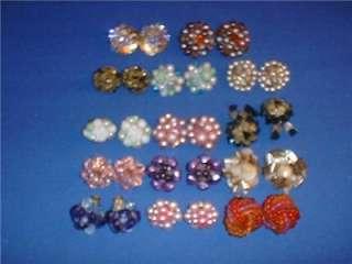 Lot 14 Prs Vintage Aurora Borealis Crystal Bead West Germany Japan