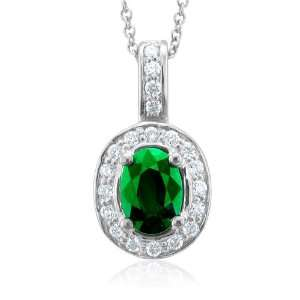 14k White Gold Natural Emerald and Diamond Necklace (G, SI2, 1.15 cttw