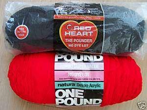 Red Heart & Natura yarn, mixed lot of 2, 2 lbs