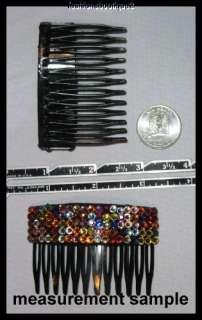 BLACK PLASTIC HAIR COMB MIX COLORS ACRYLIC STONES