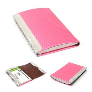 Pink Synthetic Leather Business Card Name Holder Case