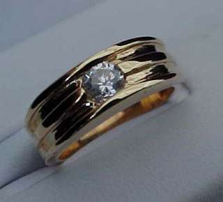 VINTAGE style Flush set 1/3 carat Round cut CZ 14k GOLD ep Wedding