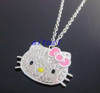 Kitty Pink bow Crystal Diamante Pendant Necklace Best Gift N20
