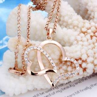 Hot 18K rose Gold plated Swarovski two heart necklace N12