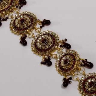 MAROON COLOR ) KUNDAN BEADS SIMULATED DIAMOND GOLD TONE LONG HAIR