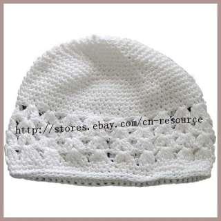 White Baby Kids Knit Crochet Handmade Beanie Skull Hat Cap