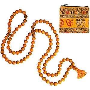 HALDI JAPA MALA ~ 108 Prayer Beads on Knotted String w/ Om