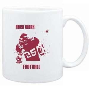 Mug White  HARD WORK Football  Sports Sports & Outdoors