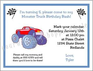 20 Personalized Monster Truck Jam Birthday Invitations