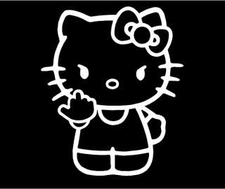 Hello Kitty Middle Finger with Body Flipping Off Car Vinyl Window
