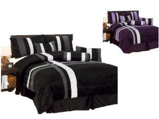 7PC New Comforter Set Patchwork Modern Shams Decorative Pillows Black