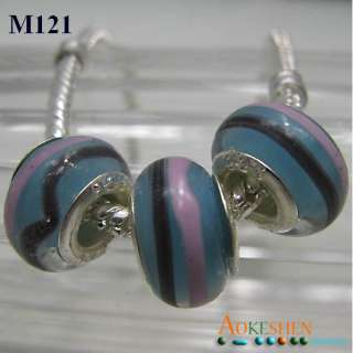 multicolor design big hole colored glass beads FIT European Charm