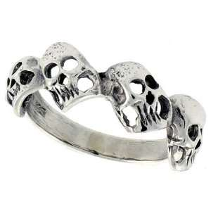 Sterling Silver Torn Skull Link Ring (Available in Sizes 6 to 10) size