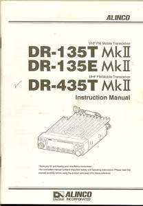 ALINCO DR 135 MKII DR 135E MKII DR 435T MKII MANUAL