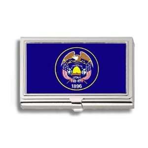 Utah State Flag Business Card Holder Metal Case Office