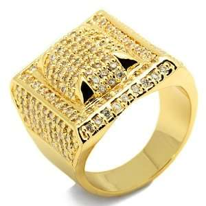 Mens Rectangular Domed Yellow Gold Plated Hip Hop Style