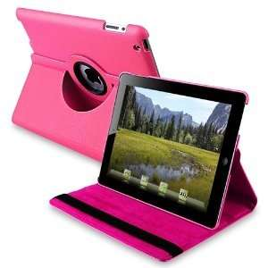 New Hot Pink iPad 3 3rd Magnetic Smart Cover Leather Case Rotating 360