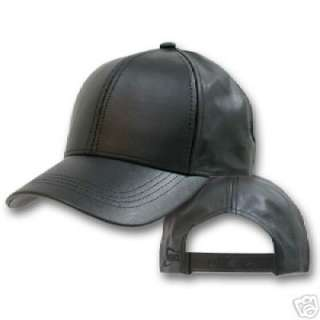 BLACK LEATHER BASEBALL CAP HAT CAPS HATS ADJUSTABLE USA