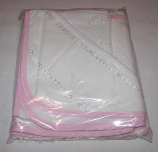 CROSS STITCH BABY HOODED TOWEL & WASH MITT SET TERRY PINK/WHITE