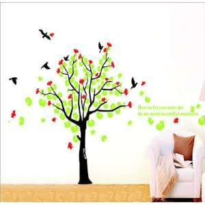 Modern House Giant Tree and Bird II removable Vinyl Mural Art