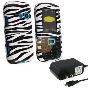 White / Black Zebra Snap on Case + Travel Charger (Micro