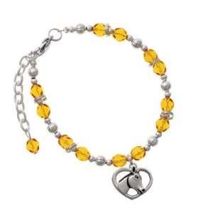 Heart with Horse Head Yellow Czech Glass Beaded Charm