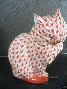 Herend Hungary FISHNET CAT Rust Orange
